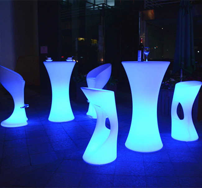 Glowing LED Bar Furniture Light Up Cocktail Table And Chairs ...